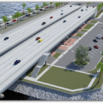 What is the plan for the recreational areas adjacent to the bridge in Gulf Breeze?