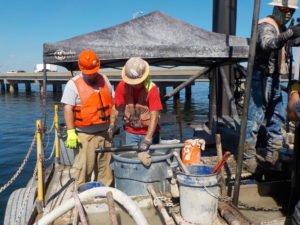 Soil penetration testing for the Pensacola Bay Bridge is accomplished by driving a thick-walled sample tube into the ground using a slide hammer dropped from a specified height.