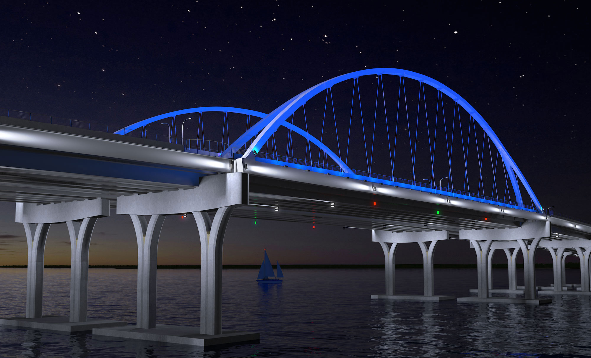 Aesthetic lighting a signature bridge element