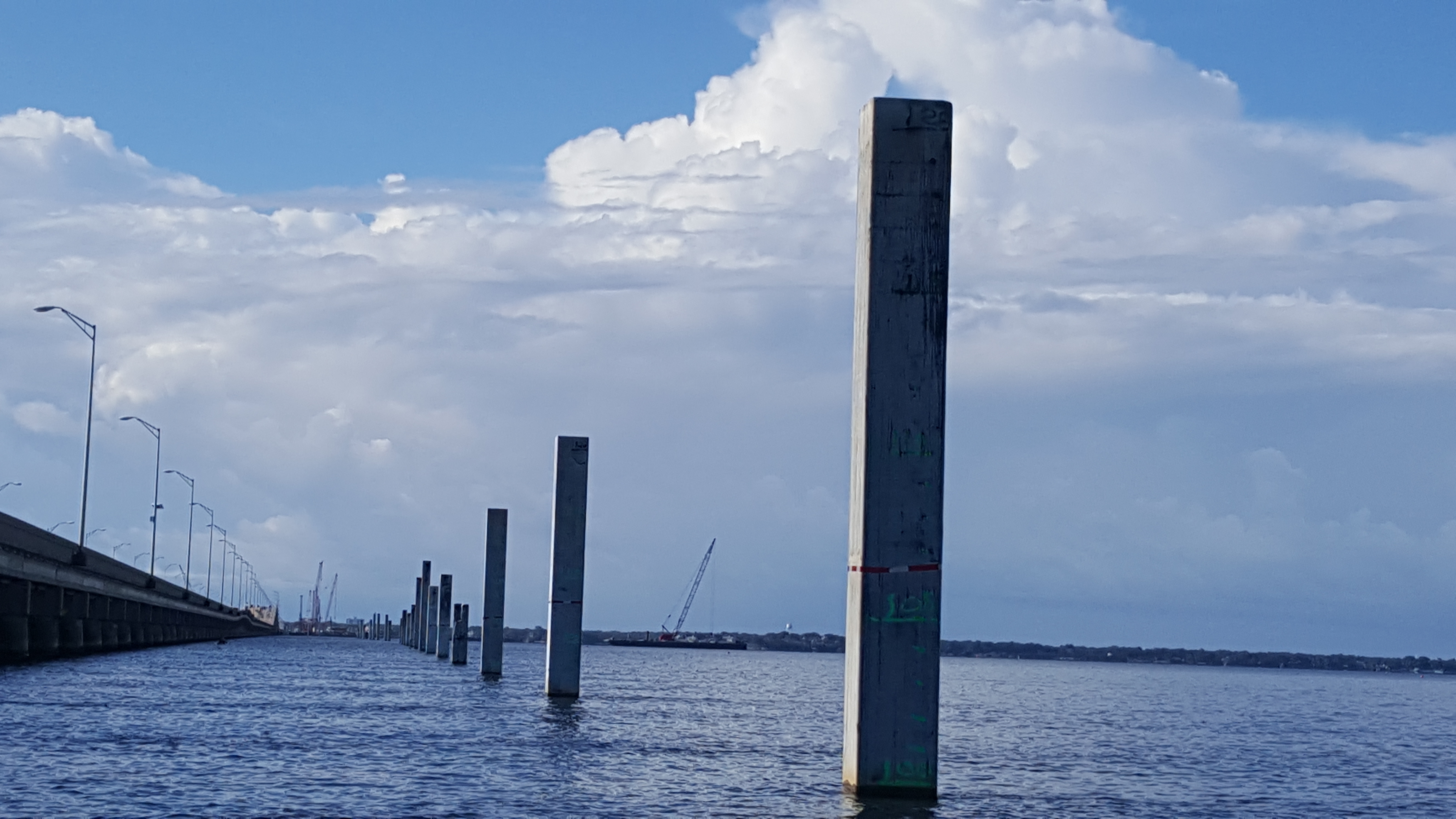 Pile driving work continuing in Pensacola Bay