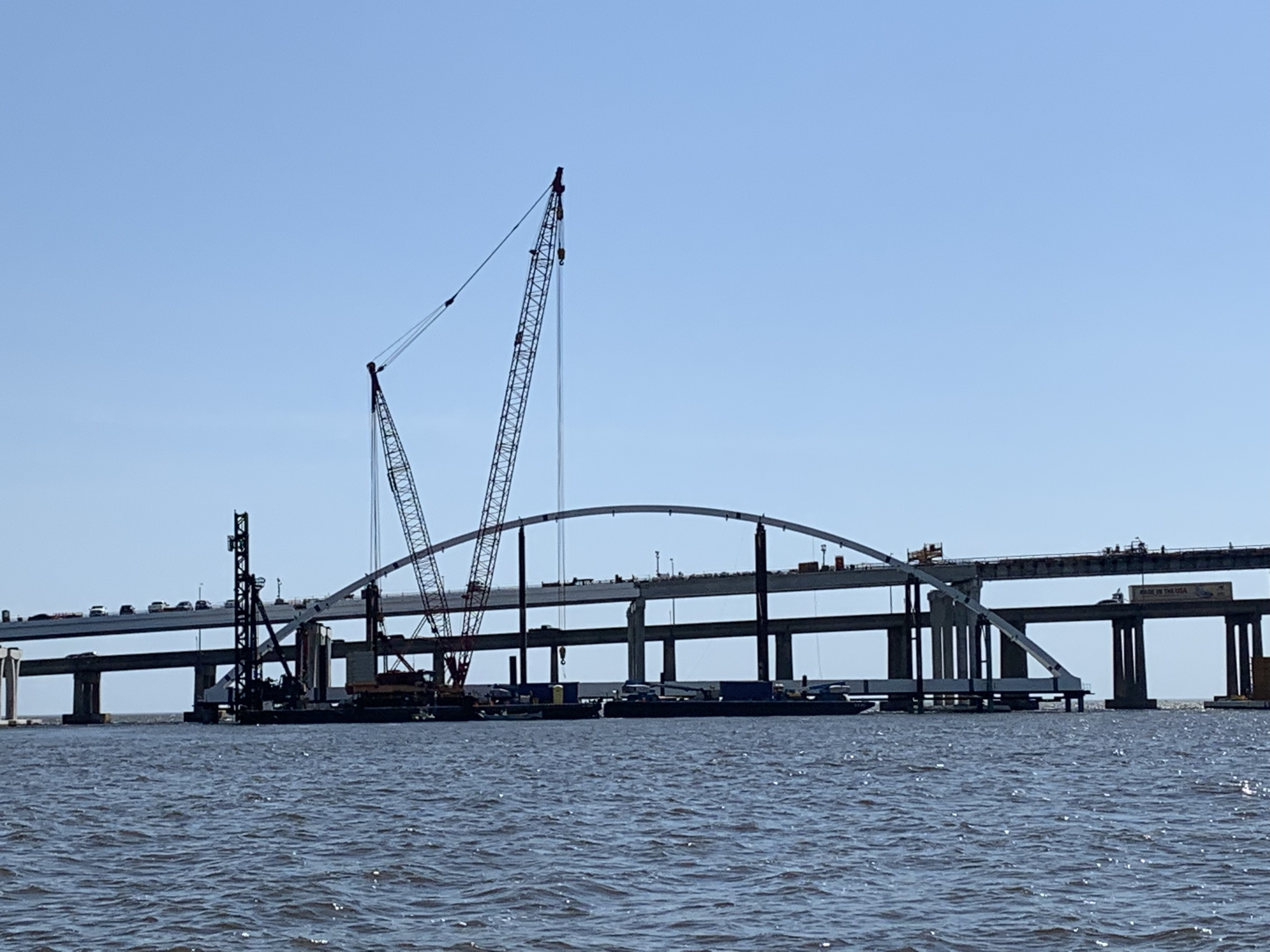 Steel arch for the eastbound bridge is currently being constructed