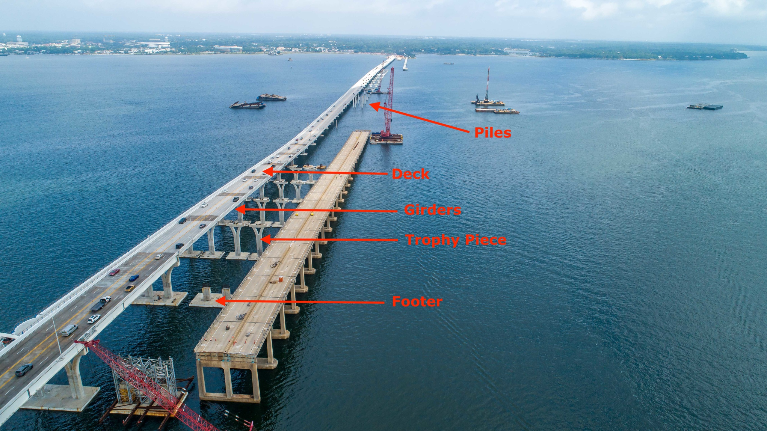 Constructing the new westbound (Gulf Breeze to Pensacola) bridge