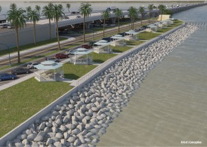 Renderings of recreational facilities on the Gulf Breeze side of the bridge.
