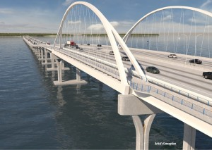 Rendering of bridge arch.