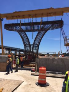 The form that will be used to cast the trophy pieces has been erected at the concrete casting yard on Bayou Chico. The massive trophy pieces will sit atop the piles and consist of a footer, column, and cap.