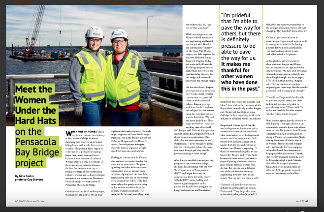 Two members of Pensacola Bay Bridge team featured in Pensacola Magazine